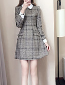 tanie Sukienki-Damskie Luźna Sukienka - Geometric Shape Kołnierzyk koszuli Do kolan