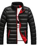 preiswerte Herren Pullover-Herrn Baumwolle / Polyester Freizeit Daunenjacke Solide Ständer / Bitte wählen Sie eine Nummer größer als Ihre normale Größe. / Langarm