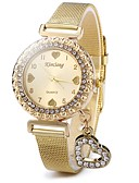 abordables Relojes Quartz-Mujer Reloj de Cristal Pavé Cuarzo Reloj Casual Acero Inoxidable Banda Analógico Destello Heart Shape Casual Dorado - Dorado
