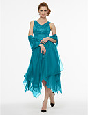 cheap Cocktail Dresses-A-Line V Neck Asymmetrical Chiffon / Satin Mother of the Bride Dress with Beading / Pleats by LAN TING BRIDE®