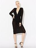 baratos Vestidos Longos-Mulheres Bandagem Tubinho Vestido - Frente Única / Com Transparência, Sólido Decote em V Profundo Médio