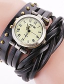 preiswerte Quartz-Damen Armbanduhr Chinesisch Chronograph / Wasserdicht Echtes Leder Band Retro / Freizeit / Modisch Schwarz / Weiß / Blau / Edelstahl / Sony 377