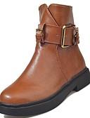billige Damestøvler-Dame PU Høst / Vinter Komfort / Trendy støvler Støvler Blokker hælen Rund Tå Svart / Brun