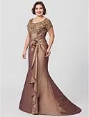 olcso Örömanya ruhák-Sellő fazon Ékszer Földig érő Seprő uszály Taft Gyöngyös csipke Örömanya ruha val vel Virág által LAN TING BRIDE®