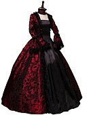 cheap Historical & Vintage Costumes-Queen Elizabeth Vintage Rococo Gothic Victorian 18th Century Costume Women's Dress Party Costume Masquerade Red Vintage Cosplay Party Prom Long Sleeve Floor Length Ball Gown Plus Size Customized
