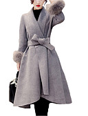 cheap Women's Fur Coats-Women's Simple Plus Size Wool Fur Coat - Solid Colored