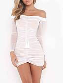 cheap Sweater Dresses-Women's Going out A Line Dress - Solid Colored White Boat Neck