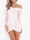 olcso Női ruhák-Női Alkalmi A-vonalú Ruha Egyszínű Térd feletti Csónaknyak Fehér