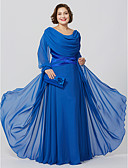 cheap Mother of the Bride Dresses-Plus Size Sheath / Column Cowl Neck Floor Length Chiffon Mother of the Bride Dress with Crystal Detailing Criss Cross by LAN TING BRIDE®