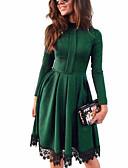 tanie Casualowe sukienki-Damskie Moda miejska Bawełna Spodnie - Solidne kolory Zielony / Impreza / Kołnierz stawiany / Praca