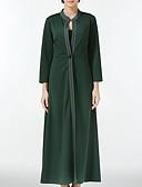 olcso Női pulóverek-Női Napi / Alkalmi Alap Ősz / Tél Maxi Kabát, Egyszínű Kerek Háromnegyedes Pamut / Akril Lóhere M / L / XL / Bő