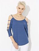 cheap Women's Tanks-Women's Cotton Loose T-shirt - Solid Colored Strap