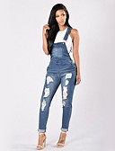 cheap Women's Pants-Women's Street chic Skinny Jeans / Overalls Pants - Solid Colored Ripped