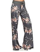 baratos Calças Femininas-Mulheres Estampada Legging - Floral, Estampado Cintura Baixa