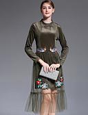 preiswerte Damen Kleider-Damen Festtage Street Schick Lose Kleid Jacquard Midi Rundhalsausschnitt Hohe Hüfthöhe / Herbst / Durchsichtig