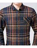tanie Męskie koszule-Koszula Męskie Moda miejska Bawełna Pepitka / Długi rękaw