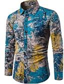 זול חולצות לגברים-פרחוני צווארון עומד(סיני) בוהו / סגנון סיני מועדונים פשתן, חולצה - בגדי ריקוד גברים / שרוול ארוך