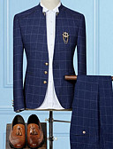 cheap Men's Blazers & Suits-Men's Slim Suits-Striped Plaid,Oversized Patchwork Stand / Long Sleeve / Work