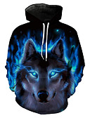 cheap Mother of the Bride Dresses-Men's Plus Size Long Sleeve Hoodie - 3D / Animal, Print Hooded
