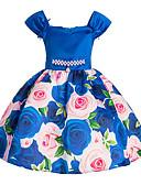 preiswerte Kleider für Mädchen-Kinder Mädchen Aktiv Ausgehen Solide / Blumen / Schmuck & Bestickt Kurzarm Kleid / Baumwolle / Niedlich / Prinzessin