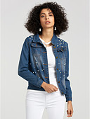 cheap Women's Denim Jackets-Women's Modern / Contemporary Denim Jacket - Solid Colored Shirt Collar / Spring
