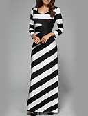 abordables Robes Maxi-Femme Soirée / Vacances Chic de Rue Maxi Mince Gaine Robe Rayé Taille haute Noir & Blanc Automne Hiver Noir M L XL Manches Longues