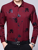 cheap Men's Shirts-Men's Work Cotton Shirt Print / Long Sleeve