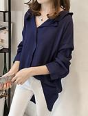 baratos Blusas Femininas-Mulheres Camisa Social Casual Sólido Decote V / Outono / Inverno