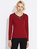 cheap Women's Sweaters-Women's Going out Cotton T-shirt - Solid Colored V Neck