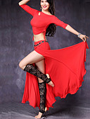 povoljno Odjeća za trbušni ples-Trbušni ples Outfits Žene Seksi blagdanski kostimi Modal S izrezom Vezivanje Rukava do lakta Sudačko Suknje Top