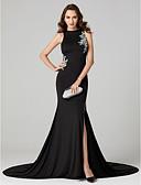 זול שמלות ערב-בתולת ים \ חצוצרה עם תכשיטים שובל סוויפ \ בראש ג'רסי ערב רישמי שמלה עם חרוזים דוגמא \ הדפס שסע קדמי על ידי TS Couture®