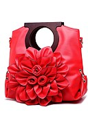 baratos Vestidos Femininos-Mulheres Bolsas PU Tote Flor Vermelho