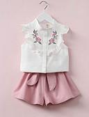 זול סטים של ביגוד לבנות-סט של בגדים כותנה קצר ללא שרוולים רקמה סגנון רחוב / סגנון סיני בנות פעוטות