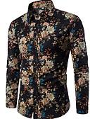 cheap Men's Hoodies & Sweatshirts-Men's Club Boho Linen Slim Shirt - Floral Print Spread Collar / Long Sleeve