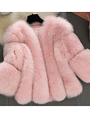 cheap Women's Fur & Faux Fur Coats-Women's Going out / Casual / Daily Street chic Fall / Winter Short Fur Coat, Solid Colored Round Neck Long Sleeve Faux Fur Pleated White / Pink / Gray XL / XXL / XXXL