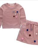 preiswerte Kapuzenpullover & Sweatshirts für Mädchen-Mädchen Kleidungs Set Punkt Baumwolle Frühling Herbst Langarm Street Schick Rosa Marineblau