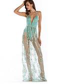 ieftine Îmbrăcăminte Damă de Exterior-Pentru femei Concediu Dantelă Rochie Mată Cu Bretele Talie Înaltă Maxi Albastru