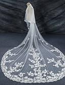 رخيصةأون جيبونات الأعراس-Two-tier Lace Applique Edge / الزفاف / زفافي الحجاب الزفاف Cathedral Veils مع دانتيل دانتيل / تول / Angel cut / Waterfall