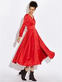 abordables Vestidos de Mujer-Mujer Noche Sofisticado Algodón Corte Swing Vestido Un Color Midi Escote en Pico