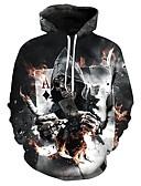 cheap Men's Hoodies & Sweatshirts-Men's Plus Size Long Sleeves Loose Hoodie - Skull, Print Hooded
