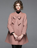 cheap Women's Two Piece Sets-Women's Going out Street chic Coat - Solid Colored, Bow