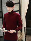 cheap Evening Dresses-Men's Sports Long Sleeve Long Pullover - Solid Colored Turtleneck