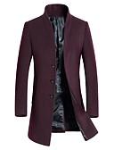 זול גברים-ג'קטים ומעילים-אחיד עומד ארוך מעיל - בגדי ריקוד גברים צמר / שרוול ארוך