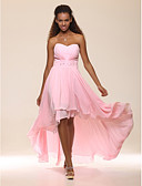 cheap Prom Dresses-A-Line Sweetheart Neckline Asymmetrical Chiffon High Low Cocktail Party / Prom Dress with Beading / Ruched by TS Couture®