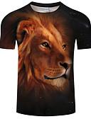 זול טישרטים לגופיות לגברים-דפוס צווארון עגול פשוט טישרט - בגדי ריקוד גברים אריה / שרוולים קצרים