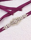 Χαμηλού Κόστους Κορδέλες για πάρτι-Σατέν / Τούλι Γάμου / Ειδική Περίσταση Ζώνη Με Τεχνητό διαμάντι / Απομίμηση Πέρλας Γυναικεία Ζώνες για Φορέματα