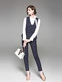 זול חליפות שני חלקים לנשים-מכנס משובץ דמקה - חולצה סגנון רחוב עבודה בגדי ריקוד נשים