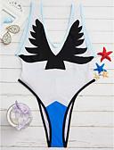 povoljno Bikini i kupaći 2017-Žene Uspravljen Cvijetan / Mesh Na vezanje oko vrata Plava Obala Crn Jednodijelno Kupaći kostimi - Print S M L