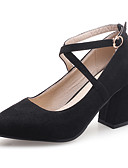 cheap Maxi Dresses-Women's Shoes Leatherette Spring / Fall Comfort Heels Chunky Heel Pointed Toe Buckle Black / Pink / Almond / Dress