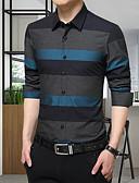 זול חולצות לגברים-פסים פשוט כותנה, חולצה - בגדי ריקוד גברים / שרוול ארוך